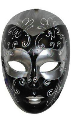 Masque Venitien Noir Et Argent