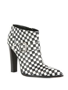 Altuzarra - Checkerboard-Print Leather Ankle Boots