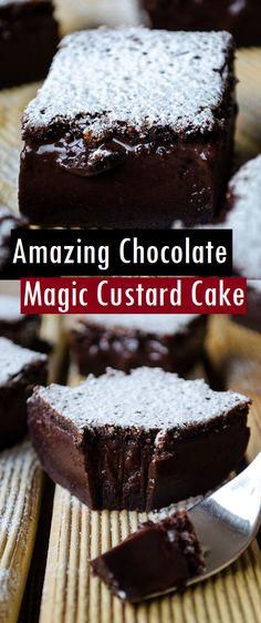 Amazing Chocolate Magic Custard Cake – Dessert & Cake Recipes - Easy Crafts for All Custard Desserts, Blueberry Desserts, Custard Recipes, Delicious Desserts, Custard Cake Filling, Vanilla Magic Custard Cake, Magic Cake Recipes, Dessert Cake Recipes, Easy Cake Recipes