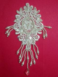 0133  Ivory Venise Lace Sequin Beaded Victorian by gloryshouse, $3.99