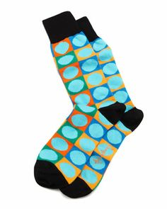 9b923a6b5a39 Arthur George by Robert Kardashian Circle-on-Square Mens Socks, Turquoise