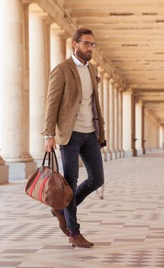 Shop this look for $1,438:  http://lookastic.com/men/looks/oxford-shoes-and-jeans-and-crew-neck-sweater-and-dress-shirt-and-blazer-and-duffle-bag-and-pocket-square/1275  — Brown Suede Oxford Shoes  — Violet Jeans  — Beige Crew-neck Sweater  — White Dress Shirt  — Tan Plaid Blazer  — Brown Leather Duffle Bag  — Burgundy Floral Pocket Square