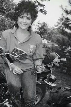 Liz with her motorcycle that Malcolm Forbes gifted her.