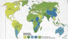 Weltkarte der Steckdosen - Europäische Stecker funktionieren nicht in Nord- und Südamerika Australien und vielen Ländern in Südostasien