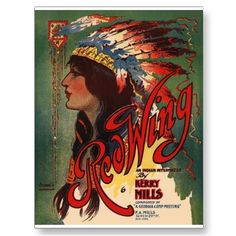 Red Wing Indian Native American Music Art Post Card
