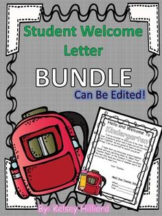 Student Welcome Letter (Back Pack Version) Back to School Letter for Students Student Welcome Letters, Back To School, Kindergarten, Lettering, Teaching, Happy, Learning, Entering School, Education