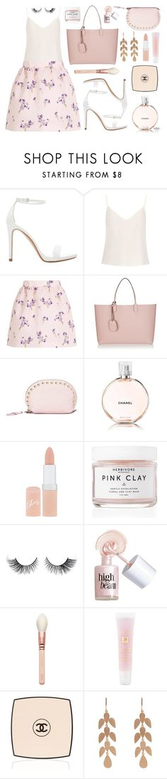 """""""Blush"""" by nans-g ❤ liked on Polyvore featuring Zara, Raey, RED Valentino, Gucci, Rebecca Minkoff, Chanel, Rimmel, Herbivore Botanicals, Benefit and Lancôme"""