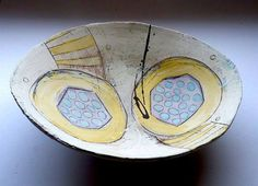 Linda Styles Pottery Bowls, Ceramic Pottery, Pottery Art, Ceramic Clay, Ceramic Plates, Slab Ceramics, Pattern And Decoration, Clay Bowl, Ceramic Techniques