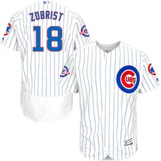 Ben Zobrist Chicago Cubs Majestic Home Flex Base Authentic Collection Jersey with 100 Years at Wrigley Field Commemorative Patch - White/Royal - $252.99