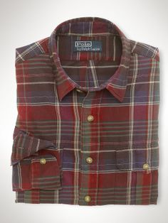 Custom Plaid Military Shirt - Custom-Fit   Casual Shirts - RalphLauren.com