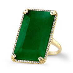 14KT Yellow Gold Emerald Diamond Rectangle Ring