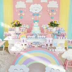 Ideas For Baby Shower Decoracion Arcoiris Rainbow Birthday, Rainbow Baby, Unicorn Birthday, Baby Birthday, 1st Birthday Parties, Cadeau Baby Shower, Idee Baby Shower, Baby Shower Parties, Baby Boy Shower
