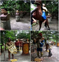 Statues of different indigenous tribes at Gap Farm Orchard Resort, Davao City