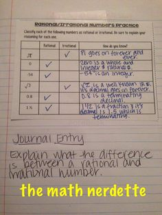 Rational and Irrational template for interactive notebooks - 8th grade math Freebie