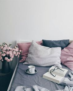 Navy pink bedroom check my other home decor ideas videos . Gray Bedroom, Bedroom Inspo, Bedroom Colors, Home Bedroom, Master Bedroom, Bedroom Decor, Bedrooms, Bedroom Ideas, Blue And Pink Bedroom