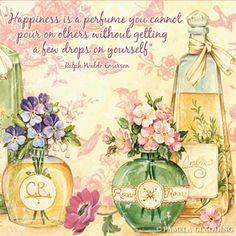 Happiness is a perfume...Ralph Waldo Emerson (BB)  Vintage perfume beauty ad, advertisement.