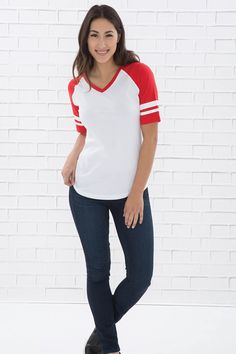 The Authentic T-Shirt Company Eurospun Ring Spun Baseball Ladies' T-shirt T Shirt Company, Tees, Shirts, Baseball, Ring, Stylish, Lady, Women, Fashion