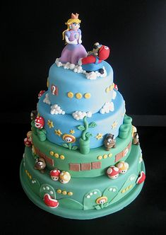 Mario Bros Wedding Cake....Wow!!!  (Madeleine and her friend are having a combined Mario/Princess Peach birthday party this summer...I am not talented enough to pull off this cake, though!)