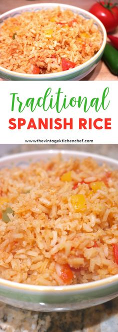 Easy and authentic Traditional Spanish Rice is the perfect accompaniment to tacos, grilled meats, fajitas or just about any dish with a Mexican flare.