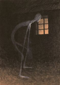 Death Looking into the Window of One Dying, 1900. by Jaroslav Panuška