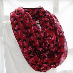 Pink and Black Valentine Hearts on Dark Red Valentine's by elgies