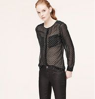 Petite Sheer Dot Collarless Utility Blouse - Clip dots elevate this sheer style with luxe attitude. Add a cami beneath for more coverage. Boatneck. Long sleeves. Button and loop closure at neckline. Covered button front. Patch pockets. Button cuffs. Shirred beneath back yoke.