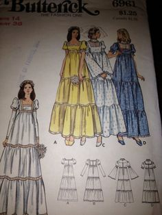 Butterick 6961 Vintage 70's Sewing Pattern