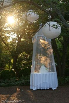 Pretty way to cover the cake at an outdoor wedding / http://www.deerpearlflowers.com/rustic-outdoor-wedding-ideas-from-pinterest/