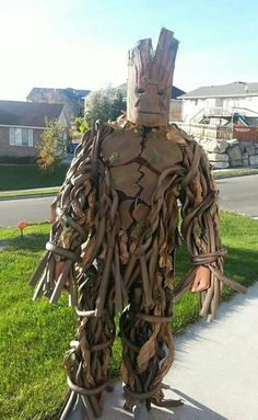 "I am Groot!! My handsome 6' 3"" teen rocked his handmade Groot costume this Halloween!!"