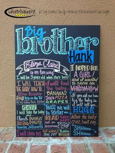 Items similar to Custom Hand-Painted CHALKBOARD baby announcement photo shoot prop gender reveal pregnancy only child expiring on Etsy Big Sibling Gifts, Little Mac, Second Baby, 2nd Baby, Reveal Parties, Baby Fever, Future Baby, Gender Reveal, Just In Case