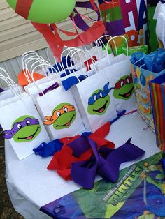 Items similar to 12 Teenage Mutant Ninja Turtle (TMNT) Party Favor Bags on Etsy Turtle Birthday Parties, Ninja Turtle Birthday, Ninja Turtle Party, Ninja Turtles, 5th Birthday, Birthday Ideas, Ninja Party, Party Favor Bags, Favor Boxes