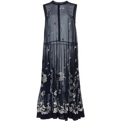 Rahul Mishra     Tropical Forest Maxi Dress ($2,050) ❤ liked on Polyvore featuring dresses, navy, embroidered dress, navy dresses, blue dress, maxi dresses and blue maxi dress