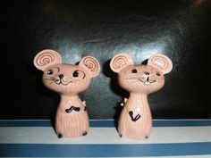 RETRO Holt Howard Pink Merry Mouse Mice Salt by OneMoeTimeVintage