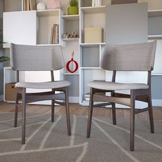 LexMod - Vestige Dining Side Chair Fabric Set of 2 in Walnut Gray