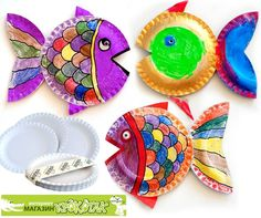 3D Paper plate craft ideas for ocean unit. Not in English, but pictures illustrate how to make these 3D fish.  Recommended by Charlotte's Clips