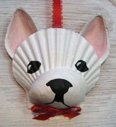 French Bulldog Ornament. White Frenchie seashell ornament. Beach, nautical, Cape Cod dog art
