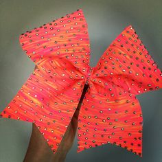 Neon sunset spandex rhinestone bling Cheer Bow pink orange