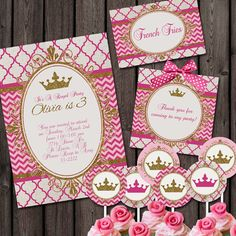 pink gold Royal Princess Party Package, invitation and custom wording thank you tags. includes cupcake toppers and food 10 labels, hot pink Disney Princess Invitations, Princess Favors, Disney Princess Party, Royal Princess, Christmas Party Invitation Wording, Party Invitations Kids, Pink Invitations, Invitation Ideas, Invitation Templates