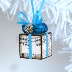 Blue Christmas Ornament Sheet Music Small Ornament by rrizzart