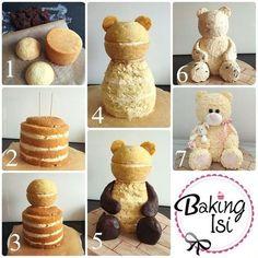 Making of how to Tutorial Teddy bear cake Bär Torte (Bake Treats Parties) Cake Decorating Techniques, Cake Decorating Tutorials, Decorating Cakes, Decorating Ideas, Teddy Bear Cakes, Teddy Bear Birthday Cake, Teddy Bears, Birthday Cakes, Birthday Recipes