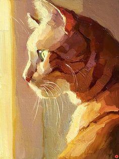 Original fine art by Katya Minkina in the DailyPaintworks Fine Art Gallery Watercolor Cat, Watercolor Paintings, Illustration Art, Illustrations, Contemporary Abstract Art, Claude Monet, Fine Art Gallery, Animal Paintings, Cat Art