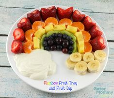 A Rainbow Fruit Tray and Fruit Dip is a perfect food to celebrate St. Patrick's Day, Spring, or to bring to a picnic. It's a healthy kid-friendly snack that everyone will love! - Rainbow Fruit Tray and Fruit Dip Recipe on Gator Mommy Reviews