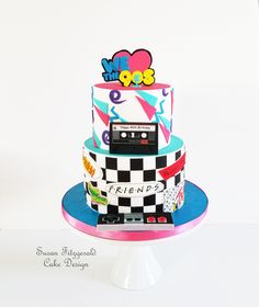 "I made this cake for a group of people celebrating their birthdays. All edible, including the cassette tape. The brief was ""lots of colorful, bright colors and black and white checks"". 9th Birthday Cake, 90th Birthday Invitations, Special Birthday Cakes, Celebration Cakes, Birthday Celebration, 90s Theme Party Decorations, Different Kinds Of Cakes, Themed Cakes, Party Cakes"