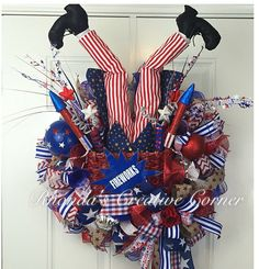 Fourth of July is right around the corner!! Uncle Sam and fireworks!! What else could you ask for in a festive Fourth of July Deco Mesh Wreath!  On sale now on Etsy!   Would you like to purchase this wreath or need a custom order wreath? Just go to https://www.etsy.com/shop/RhondasCre8iveCorner to see all my beautiful Deco Mesh Wreaths I have made.