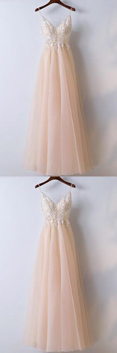 A-line Prom Dress,Fashion Prom Dresses,Spaghetti Straps Prom Dresses,Long Prom Dress With Lace Applique,Elegant Prom Dresses,Long Formal Gowns #2018newstyles #fashions #styles #hiprom #tulle #laceprom