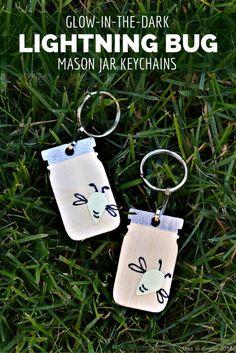 Glow in the Dark Lightning Bug Mason Jar Keychains - Mad in Crafts