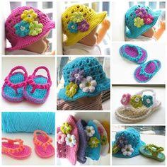 crochet flip flop and hat set #Crochet, #Baby, #Shoes