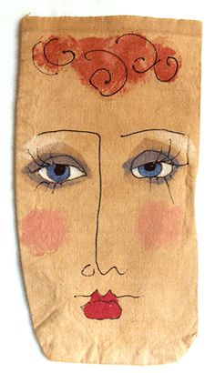 Painted Face Bags--A Different Kind of Bag Lady! This would be a great doll face! Illustrations, Illustration Art, Cute Little Drawings, Face Art, Art Faces, Art Plastique, Doll Face, Fabric Art, Altered Art