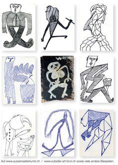 Ernst Kolb und Pierre Vuitton.  Weil die sehr interessanten und unvergleichbaren Zeichnungen des Bäckers Ernst Kolb (1927 bis 1993) aus urheberrechtlichen Gründen (z.B. auf Wikipedia) erst 70 Jahre nach seinem Tod gezeigt werden dürfen, entstand eine Webseite, die viele Arbeiten Kolbs und jene weiterer 80 Aussenseiterkünstlern aus einer Privatsammlung zeigt.  Pierre Vuitton, der  1880 in Verdun geboren wurde und 1962 in Paris starb, ist zum Beispiel einer von ihnen.