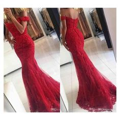 2017 New Sexy Prom Dresses Off Shoulder Dark Red Lace Appliques Beaded... ❤ liked on Polyvore featuring dresses, sexy red dress, sexy formal dress, off the shoulder prom dresses, sexy long dresses and lace prom dresses